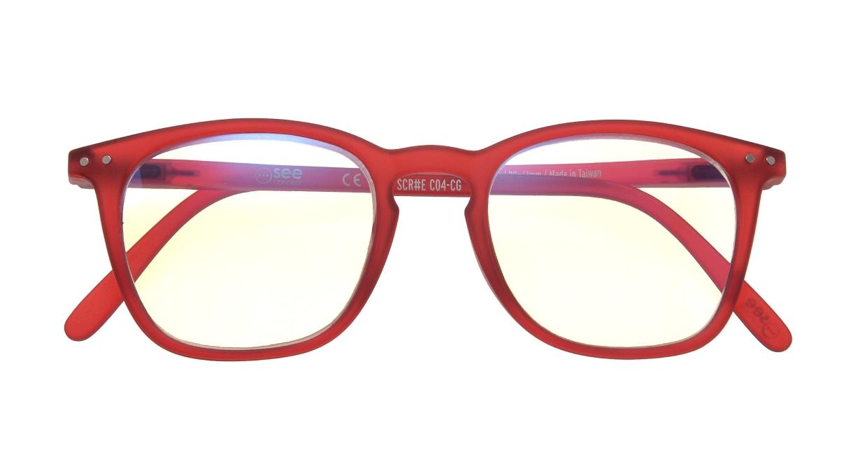 イジピジ リーディンググラス PC用 +1.5 #E RED [老眼鏡/ブルーライトカット/ウェリントン/赤]  3