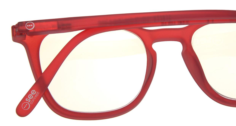 イジピジ リーディンググラス PC用 +1.5 #E RED [老眼鏡/ブルーライトカット/ウェリントン/赤]  4