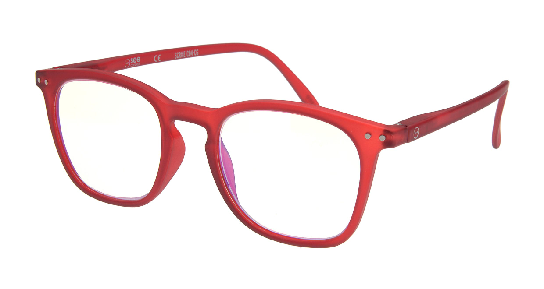イジピジ リーディンググラス PC用 +1.5 #E RED [老眼鏡/ブルーライトカット/ウェリントン/赤]