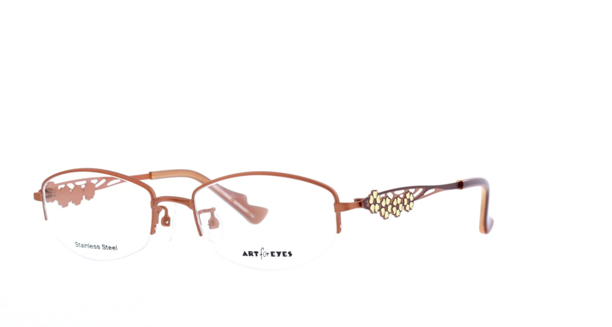 ミュニックアイウェア AE110-44 [メタル/鯖江産/ハーフリム/スクエア/オレンジ]  1