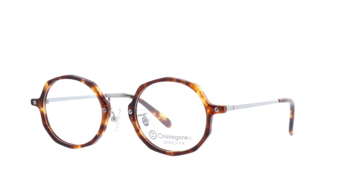 オニメガネ OG7102-BR-46 [鯖江産/丸メガネ/べっ甲柄]  1