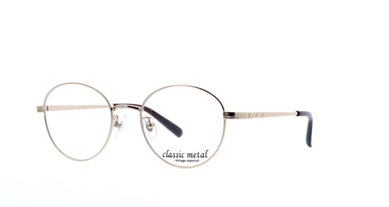 クラシックメタル CM-001-3-49 [メタル/丸メガネ/安い/シルバー]  1