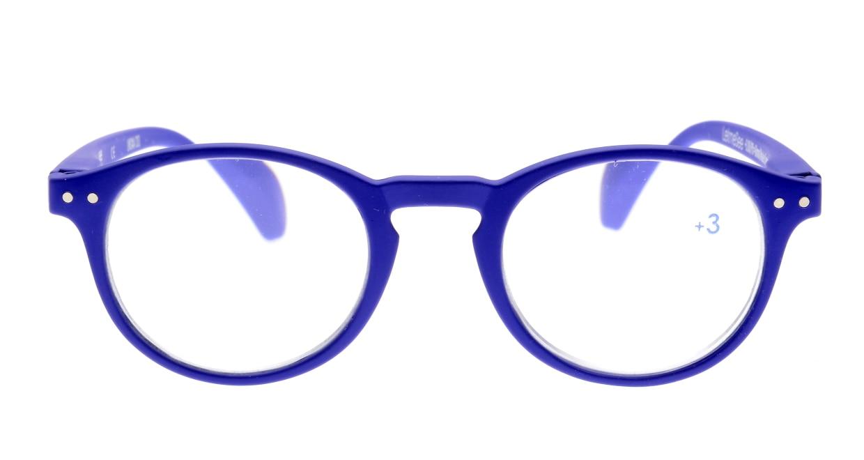 イジピジ +3.0#A Reading-Navy Blue [丸メガネ/青]