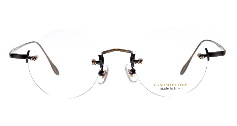ハンドメイドアイテム H-3036-5-45 [メタル/鯖江産/縁なし/丸メガネ/茶色]