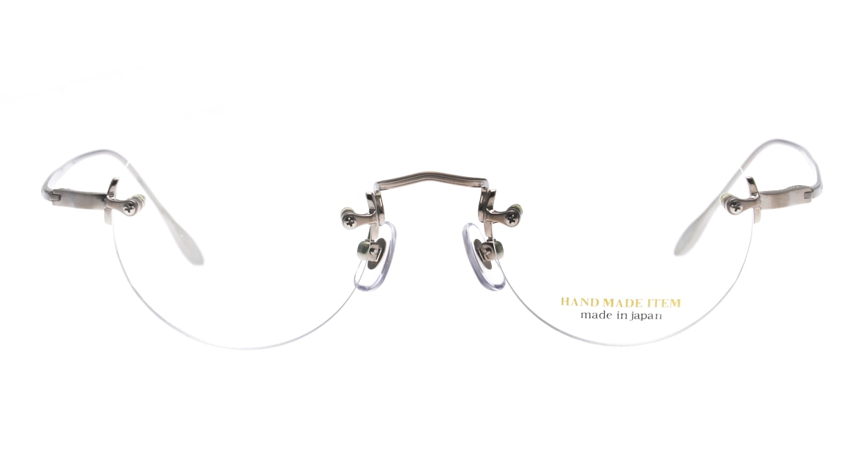 ハンドメイドアイテム H-3036-1-45 [メタル/鯖江産/縁なし/丸メガネ/シルバー]