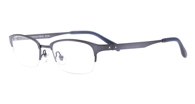 Oh My Glasses TOKYO 令-003-Blue-51 [メタル/鯖江産/ハーフリム/スクエア/青]  1