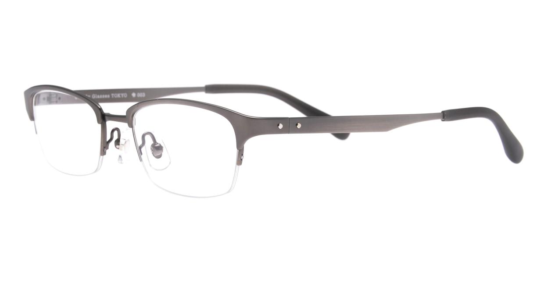 Oh My Glasses TOKYO 令-003-Gray-51 [メタル/鯖江産/ハーフリム/スクエア/グレー]  1