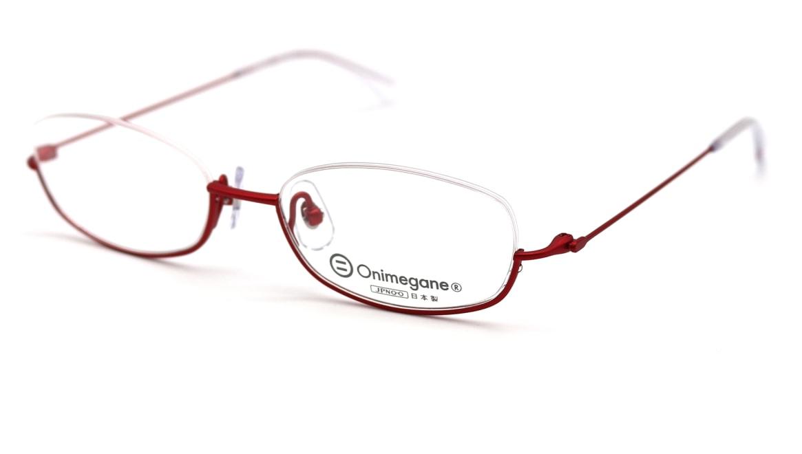 オニメガネ OG-7227-R-48 [メタル/鯖江産/アンダーリム/スクエア/赤]  1