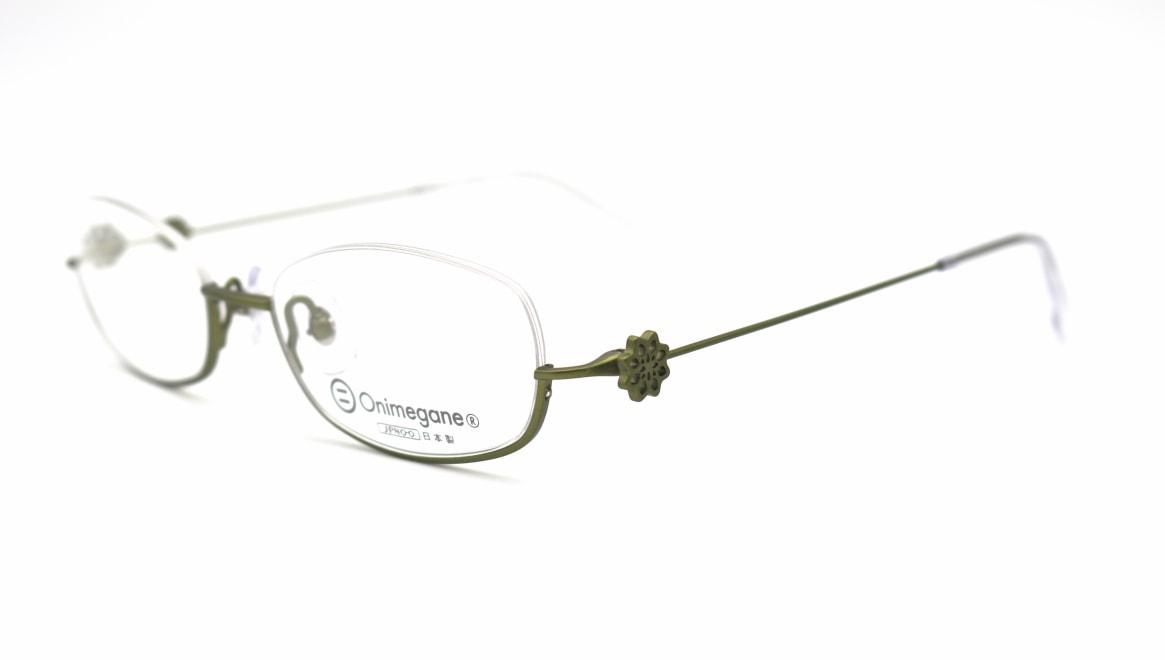 オニメガネ OG-7224-GR-48 [メタル/鯖江産/アンダーリム/オーバル/緑]  2