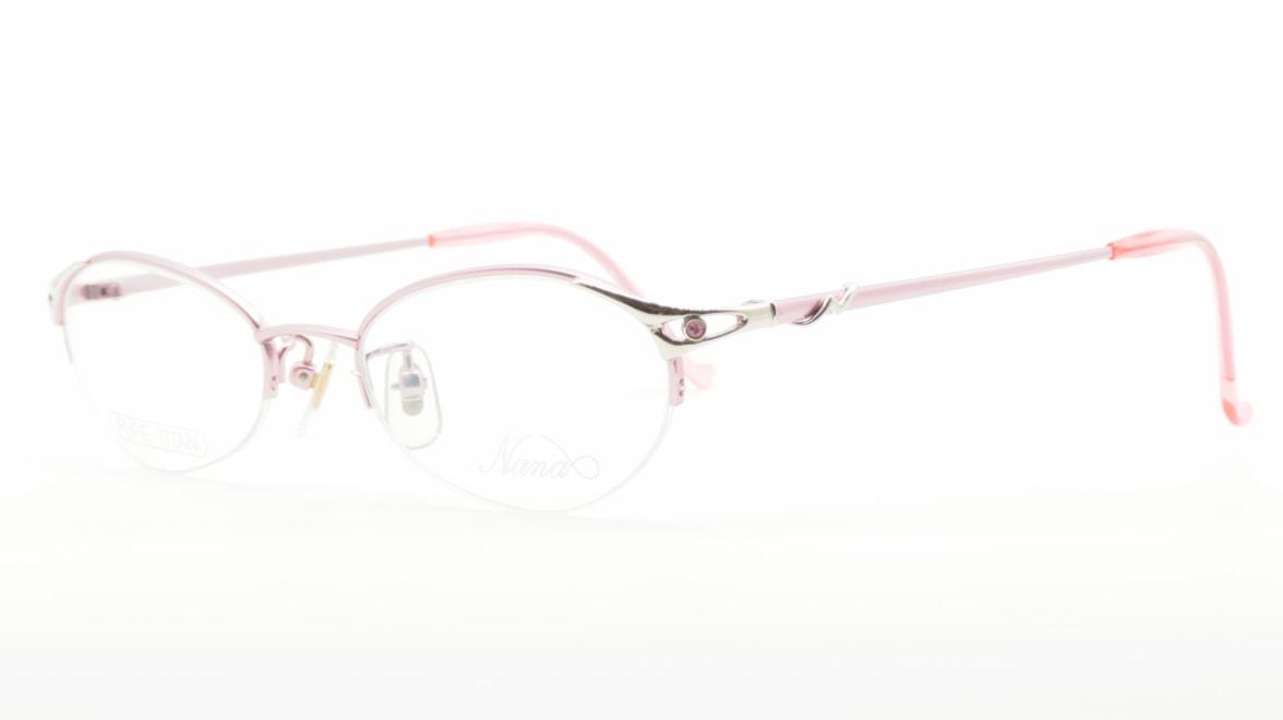 ナナ N-027-PK [メタル/鯖江産/ハーフリム/オーバル/ピンク]  1