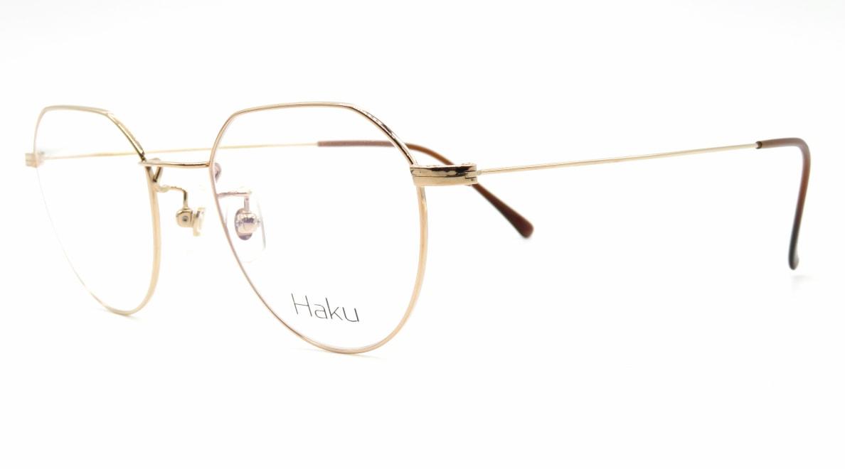 ハク Haku-02-GLD-48-18-146 [メタル/鯖江産/丸メガネ/ゴールド]  1