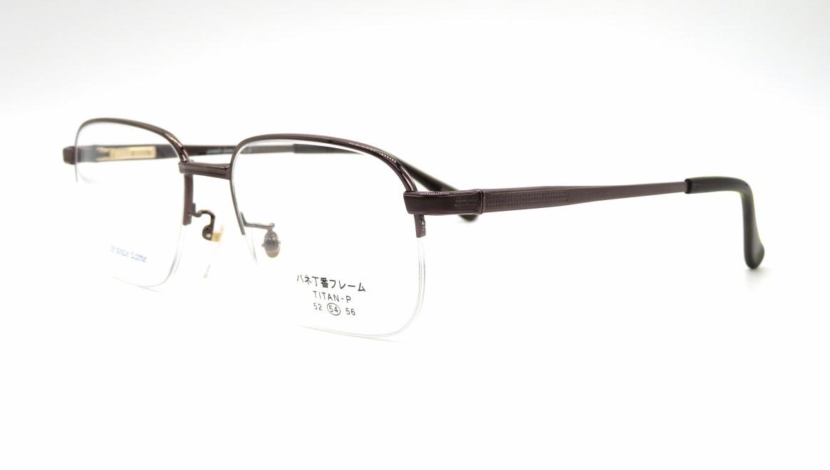 グランダム VT-281-C-3-54 [メタル/鯖江産/ハーフリム/ウェリントン/茶色]  1