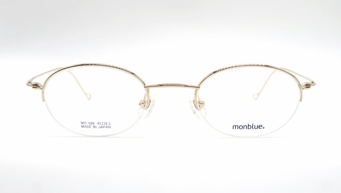 モンブルー MO-026-1-45 [メタル/鯖江産/ハーフリム/オーバル/ゴールド]