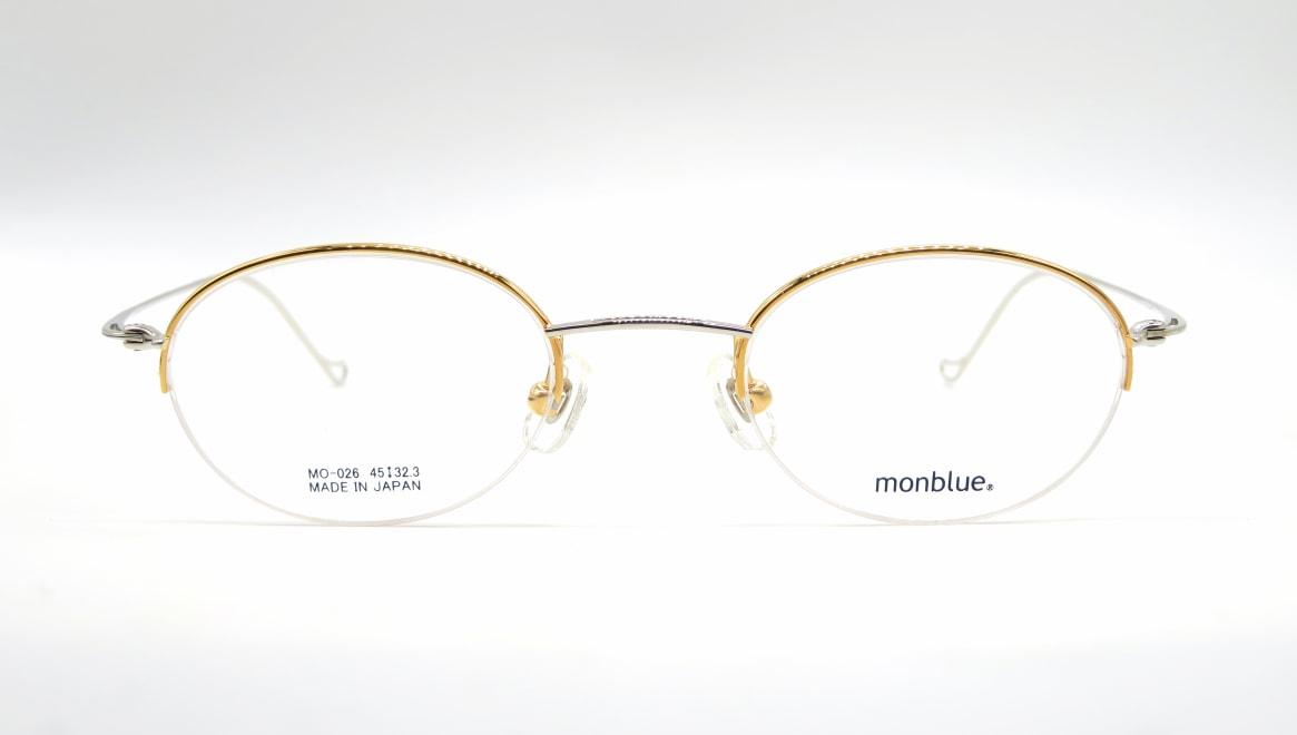 モンブルー MO-026-7-45 [メタル/鯖江産/ハーフリム/オーバル/ゴールド]