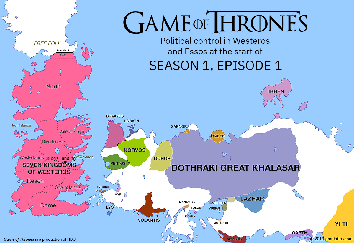 Westeros and Essos at start of Season 1