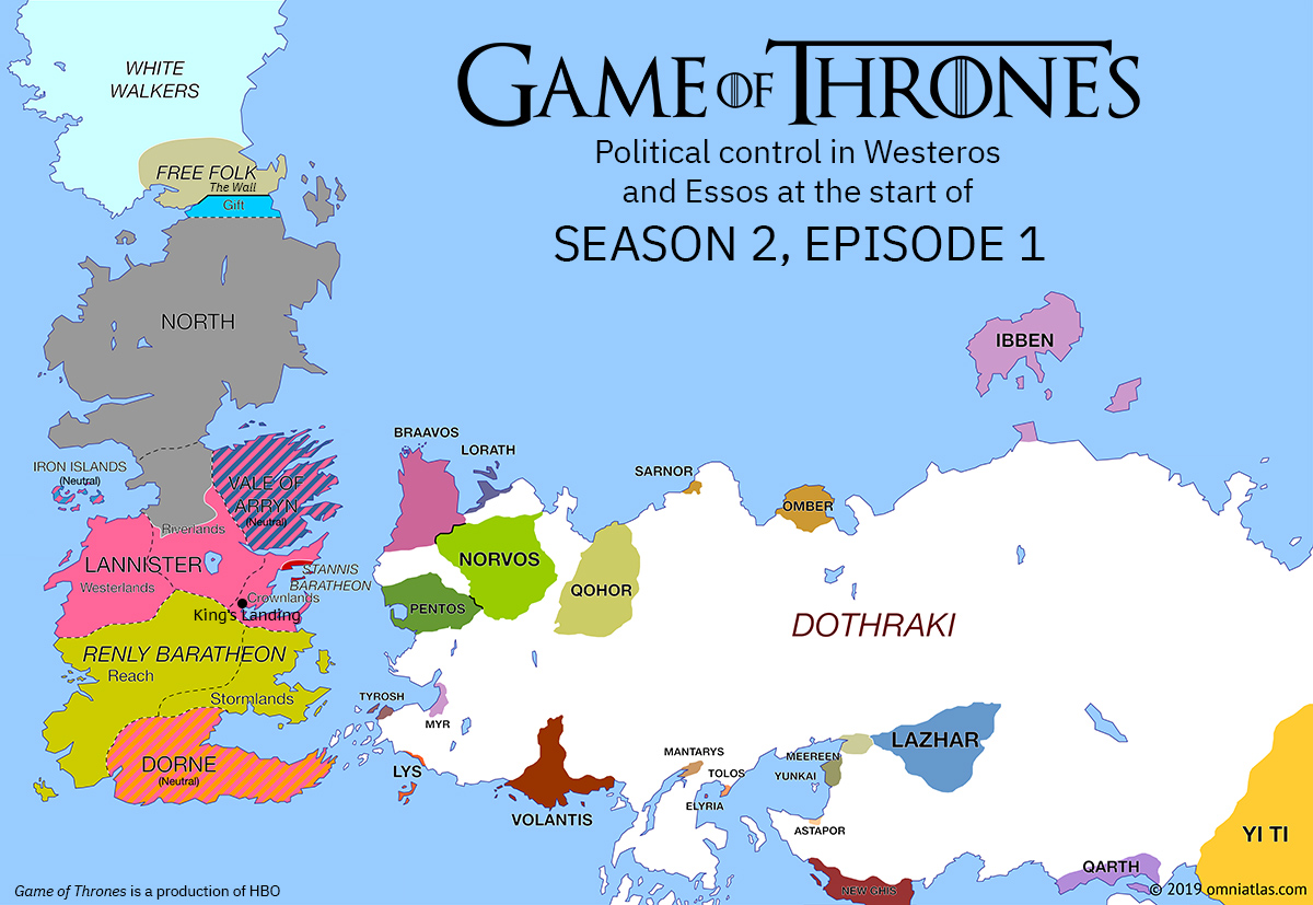 Westeros and Essos at start of Season 2