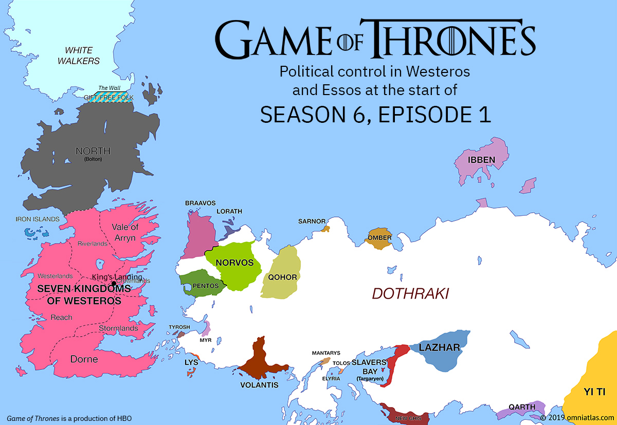 Westeros and Essos at start of Season 6