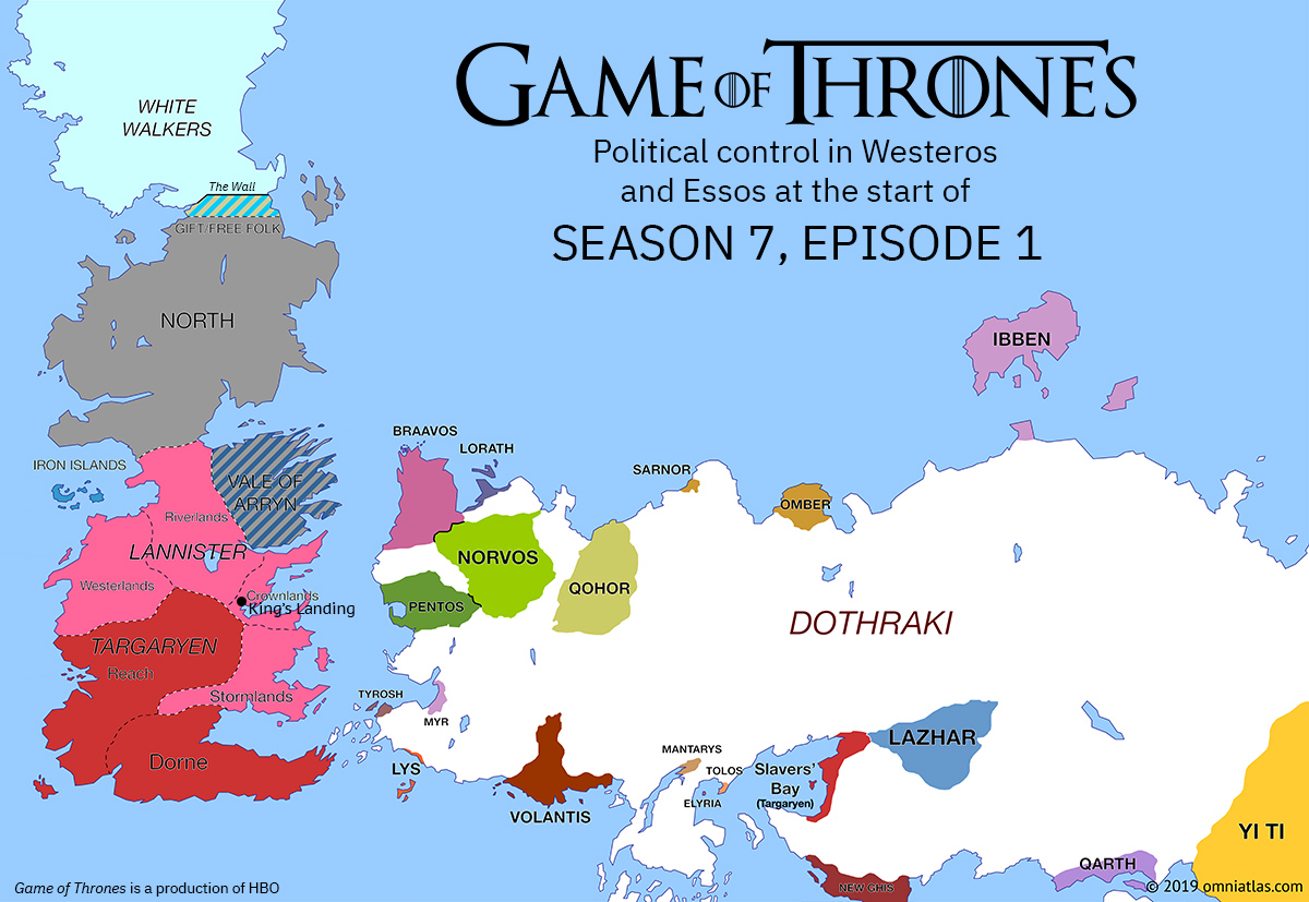 Westeros and Essos at start of Season 7