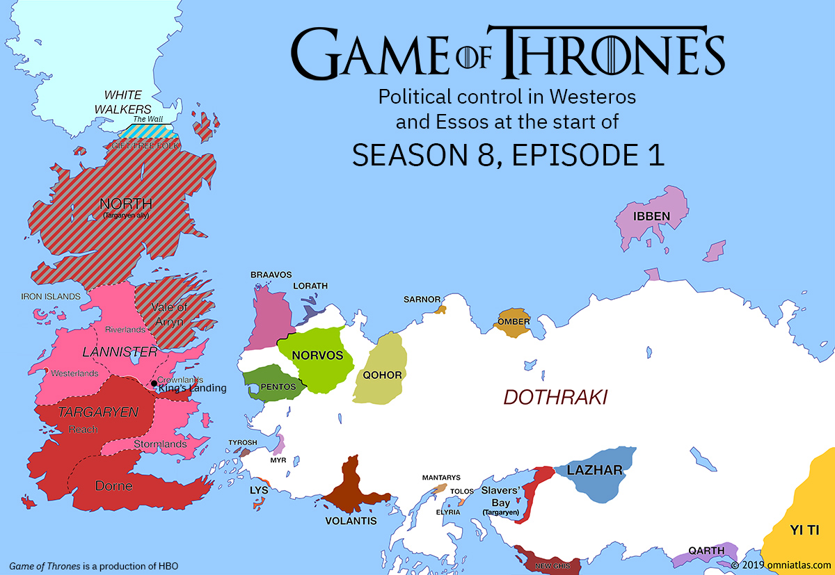 Westeros and Essos at start of Season 8