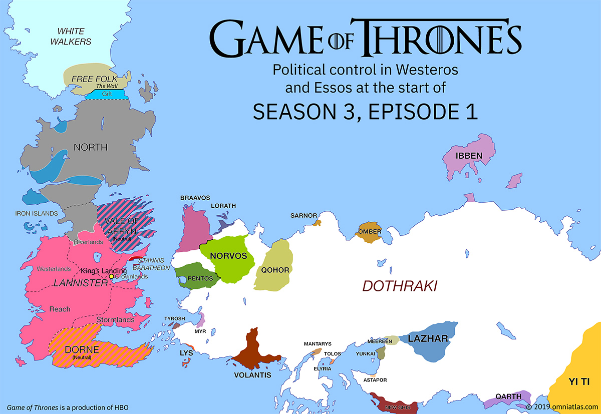 Westeros and Essos at start of Season 3