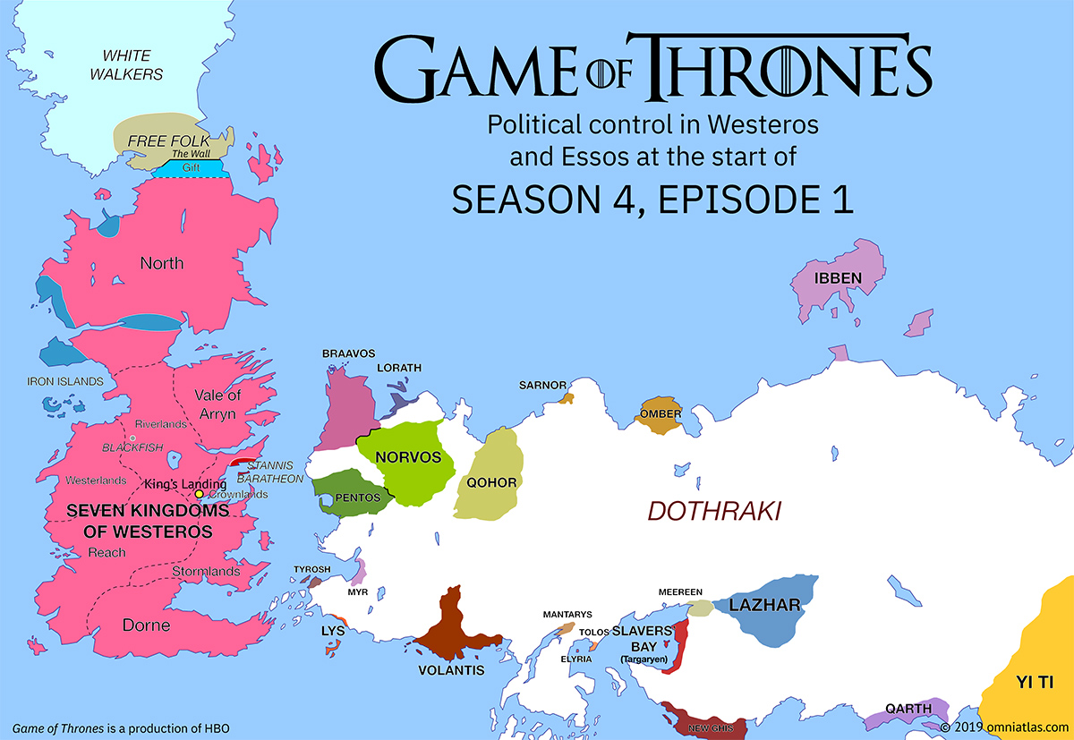 Westeros and Essos at start of Season 4