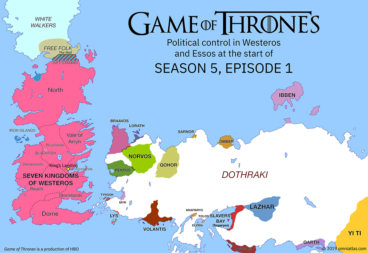 Westeros and Essos at start of Season 5