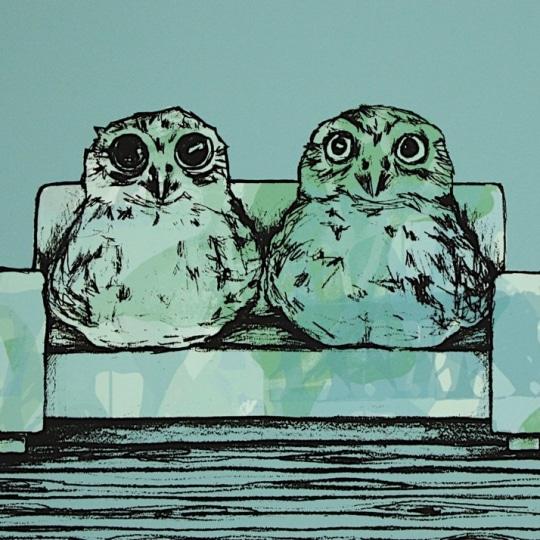Ugler i sofaen by Gunilla Holm Platou   onArts