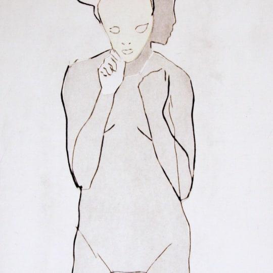 Jente med maske (Red) by Terje Resell | onArts