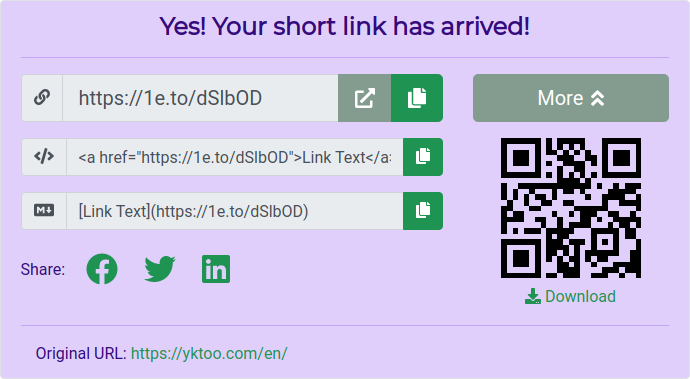 The shortening result with a QR code.