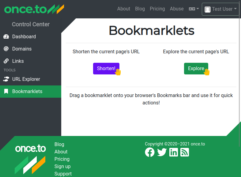 The Bookmarklets page.