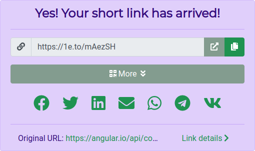 A shortened link and its social share buttons.