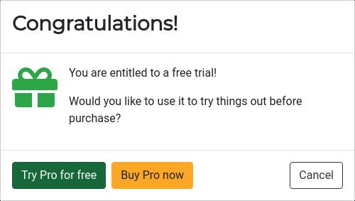 Start free trial request.