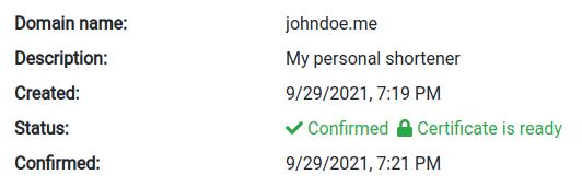 Домен подтверждён и сертификат выдан.