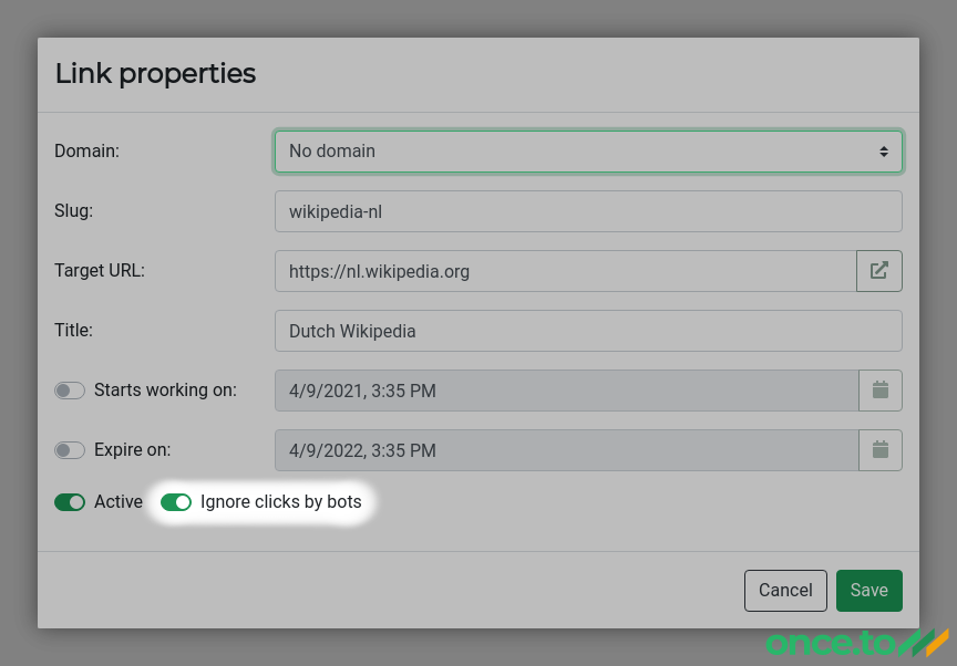 Link Properties dialog and the Ignore clicks by bots switch.