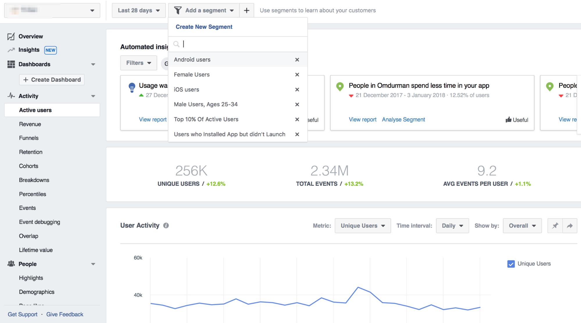 facebook activity dashboard