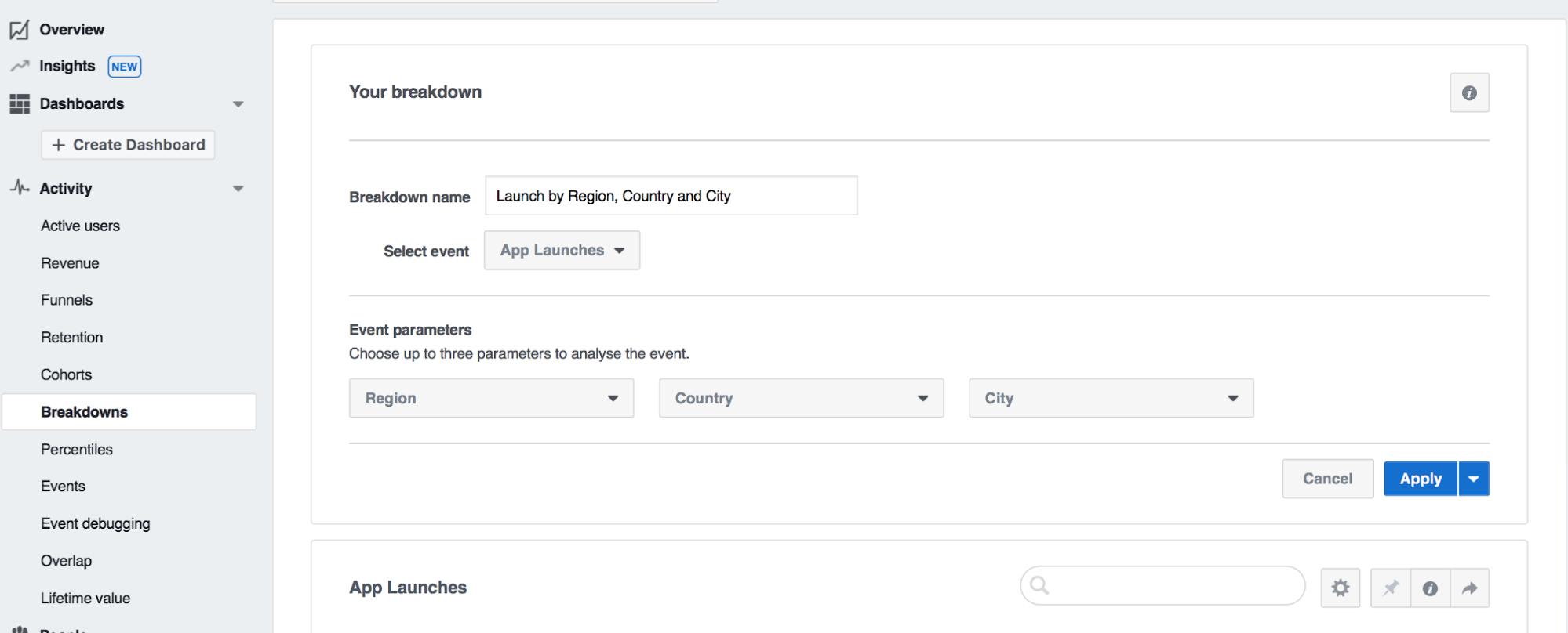 facebook analytic breakdown tab