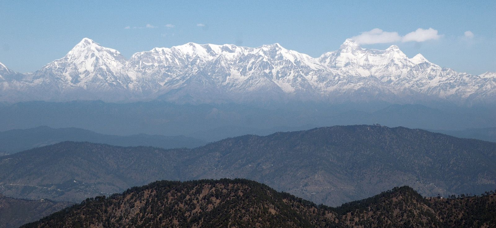 Sweeping views of the snow capped Himalayas