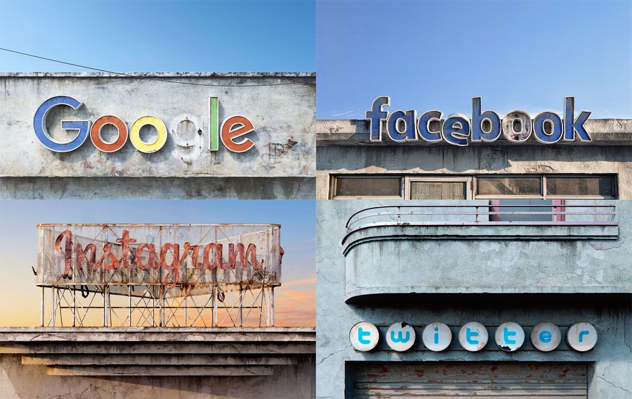 Collage of facebook, google, instagram and twitter logos as decaying signage on buildings.