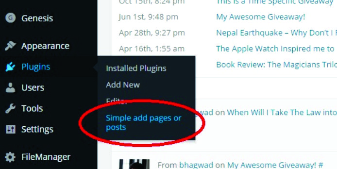Simple Add Pages or Posts: