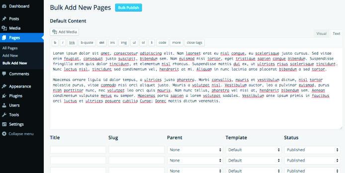 Bulk Page Creator