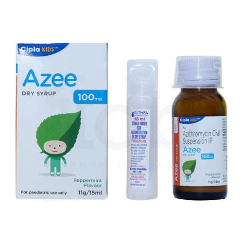 Azee Dry Syrup 100 Mg Pepper Mint Flavour- 15 Ml +10ml Sterile Water For Reconstitution Of Dry Syrup