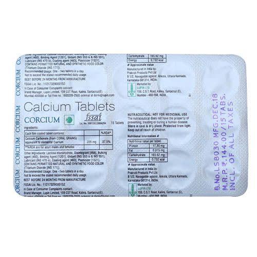 CorcIUm- CalcIUm Tablets
