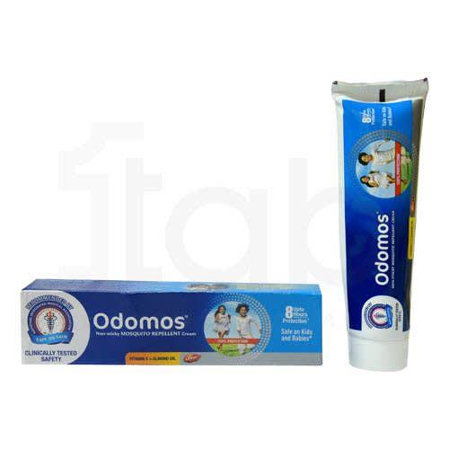 Odomos Non-Sticky Mosquito Repellent Cream With Vitamin E & Almond Oil-100 Gm