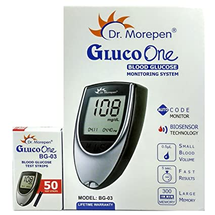 Dr Morepen Combo Pack Of Bg-03 Glucose Meter, Test Strips 50 And Lancets 100