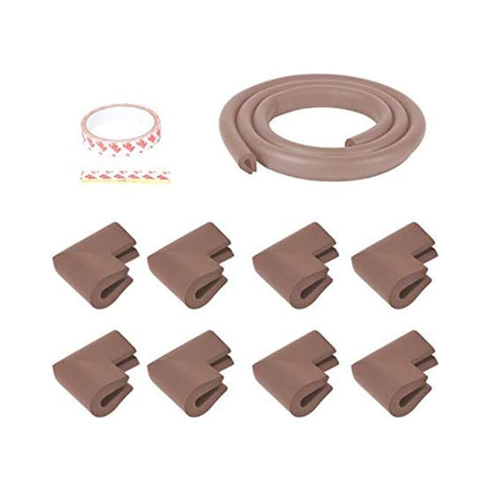 Safe-O-Kid Unique High Density 2mtr Long U-Shaped 2 Edge Guards with 8 Corner Cushions Brown