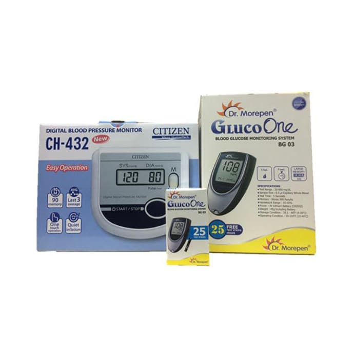 Dr Morepen Combo Pack of BG 03 Glucose Monitor and 25 Strips with Citizen CH 432 Digital Blood Pressure Monitor