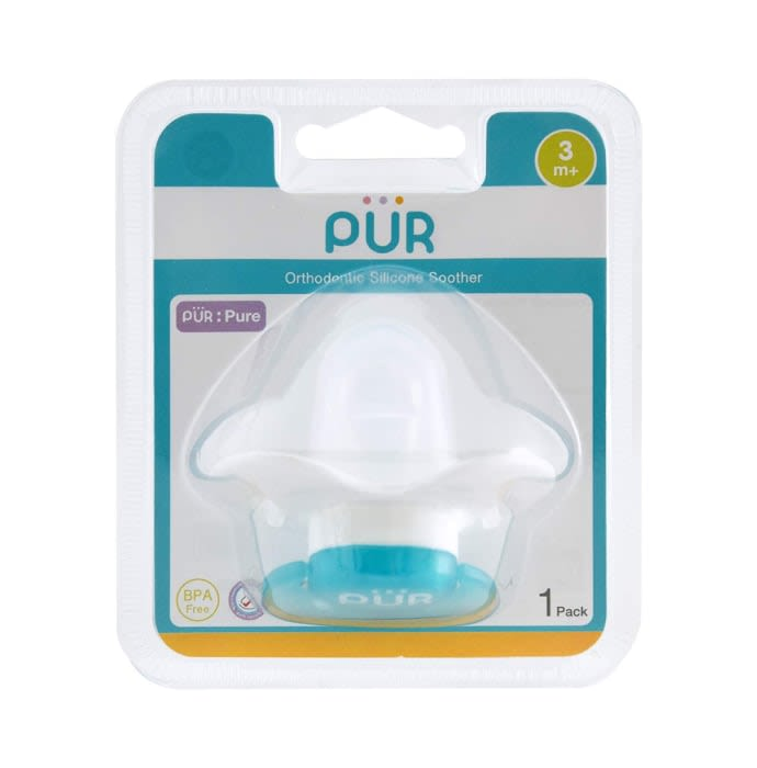 Pur Orthodontic Silicone Soother 3m+ Blue