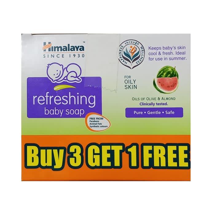 Himalaya Refreshing Baby Soap Value Pack (75gm Each) Buy 3 Get 1 Free