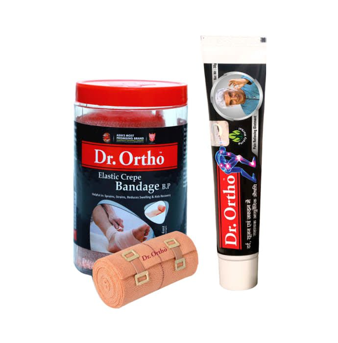 Dr Ortho Combo of Crepe Bandage (8X4) & Pain Relief Ointment 30gm