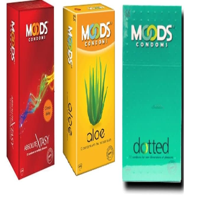 MOODS Combo Pack of Dotted, Absolute Xtasy and Aloe Condoms (36 Pieces)